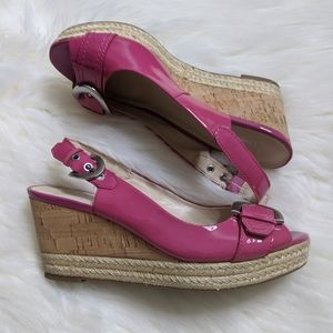 Franco Sarto Hot Pink Espadrille Sandals Peep Toe